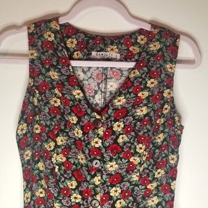 Vintage Rampage Button Floral Tank Dress Sz Small